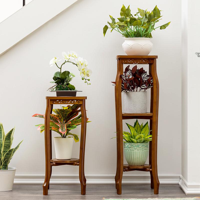 欧式实木落地客厅中式室内盆栽架