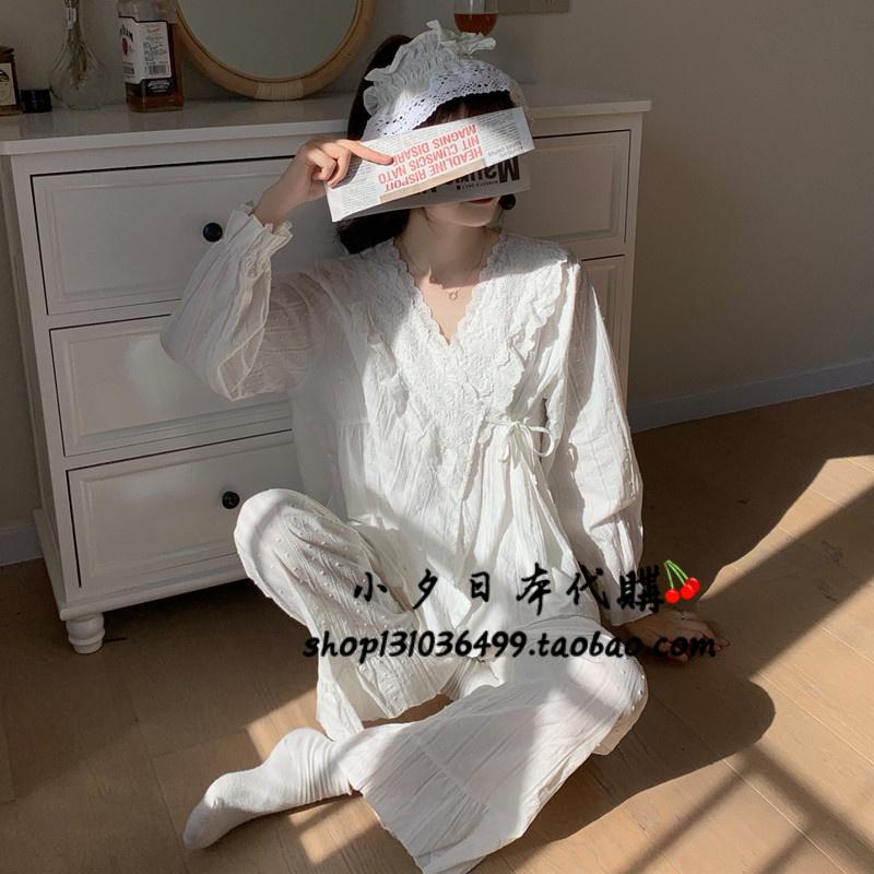 日本代购gelato pique蕾丝纯棉睡衣女春秋甜美宫廷风家居服套装