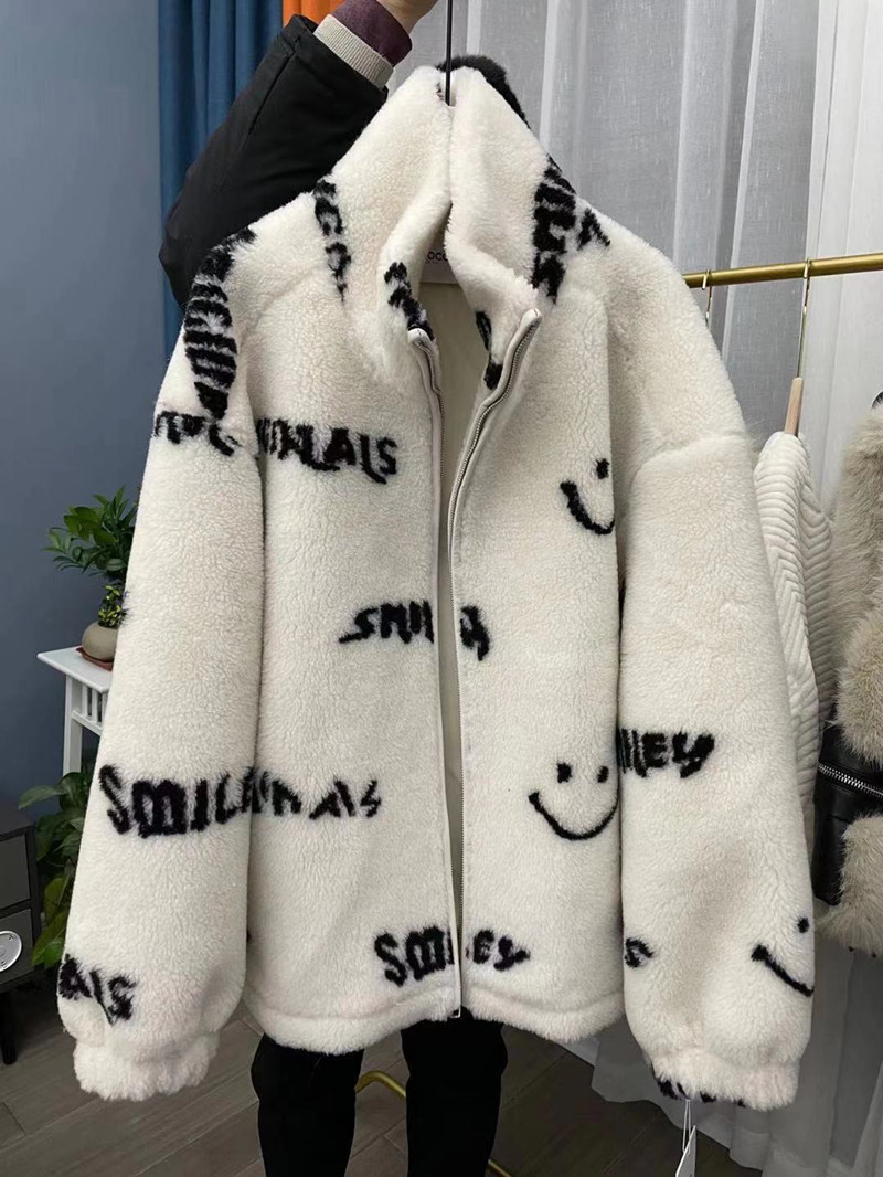皮毛一体笑脸仿羊羔毛外套女37羊毛羊剪绒连帽新款皮草大衣冬季厚