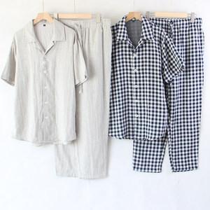 短袖客供面料超软舒适亲肤双层棉纱全棉良品风睡衣套装家居服男士