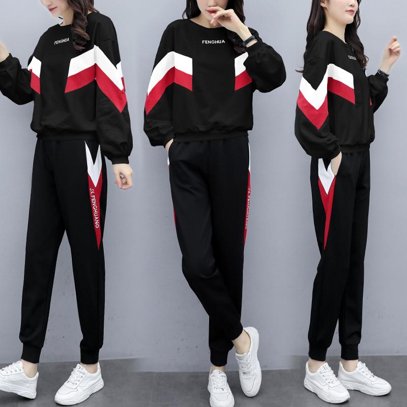胖妹妹时尚大码女装2020新款潮牌宽松时尚跑步服休闲两件套洋气