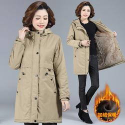 中老年加绒加厚风衣宽松大码妈妈装2020新款秋冬装外套中年女棉衣
