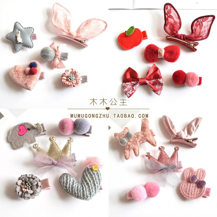 包邮头饰套装 生日礼物毛球发饰 节日红宝宝女童全包发夹5件套