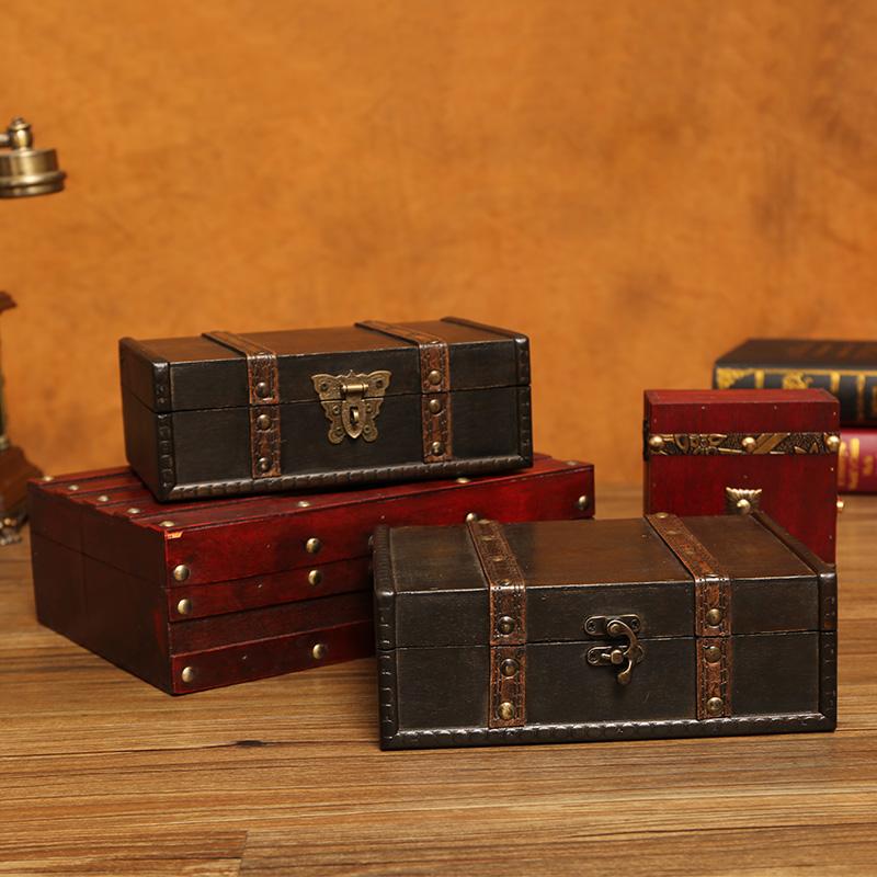 小复古密码带锁木制杂物藏宝木盒子