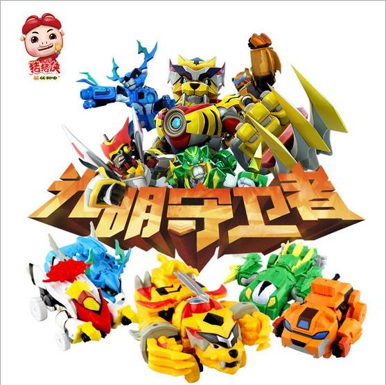 新品猪猪侠光明守卫者炫变铁拳虎火焰鹤变形五灵合玩具3周岁以上