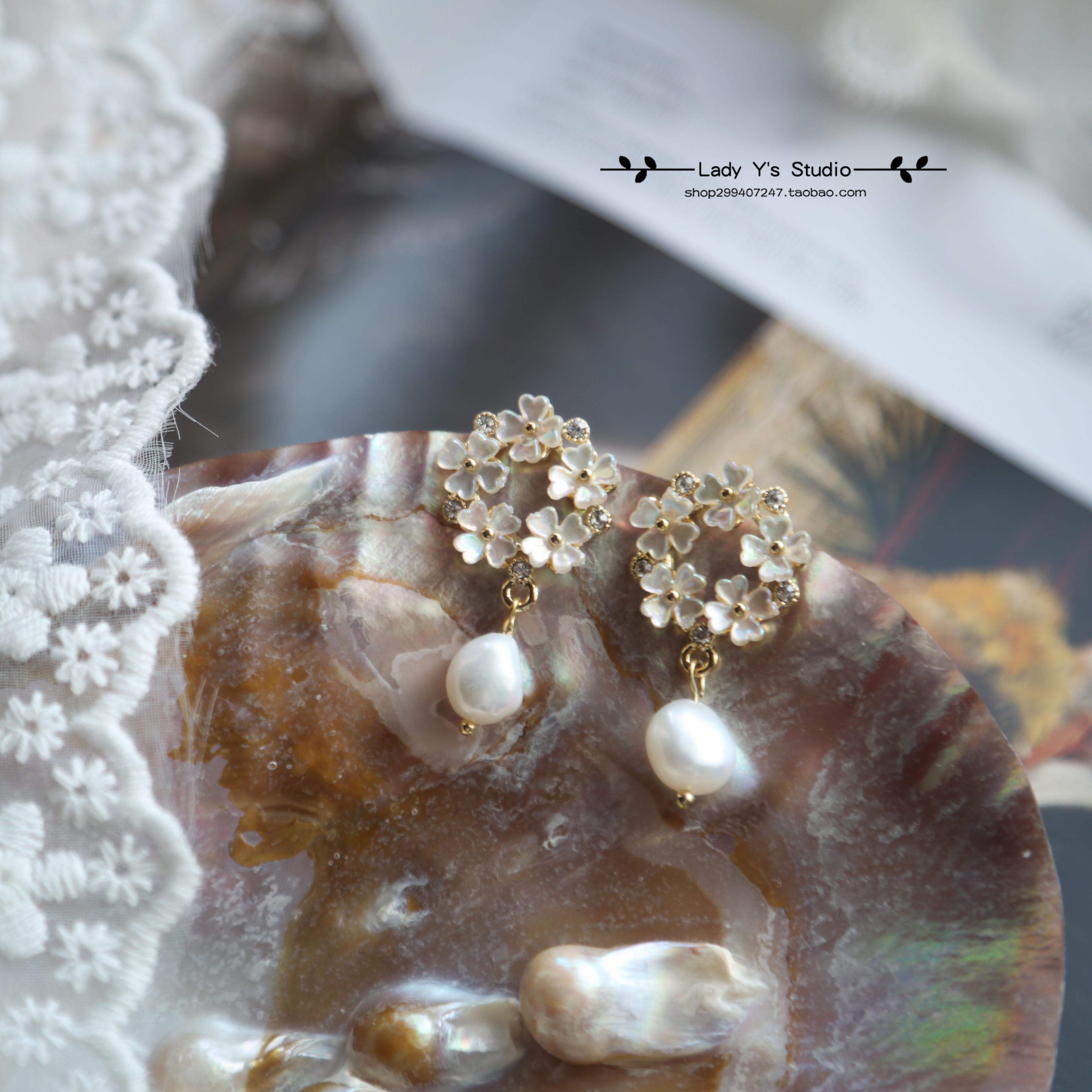 S925 silver needle retro micro zircon freshwater pearl clover shell flower sweet little fragrance romantic Earrings