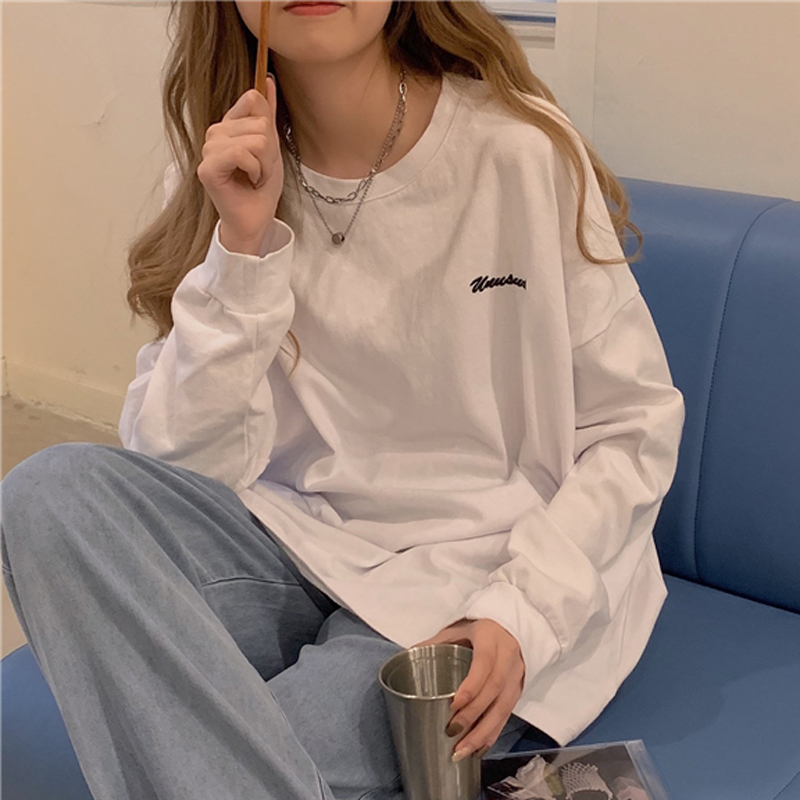 ins super fire T-shirt female spring, autumn and winter wear long-sleeved bottoming shirt Korean style trendy students wear loose and thin upper clothes