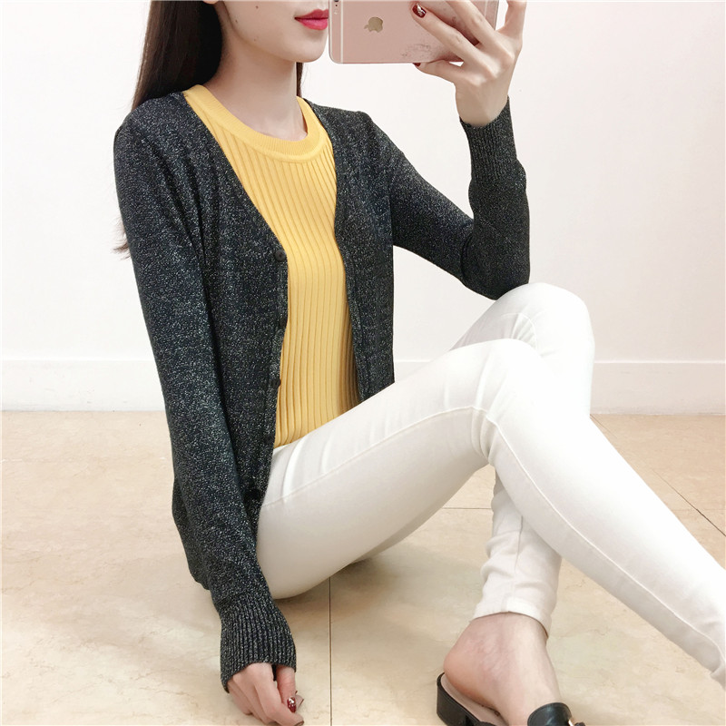 Bright silk knitted cardigan womens short loose Korean 2021 new spring and autumn outside with lazy sweater coat