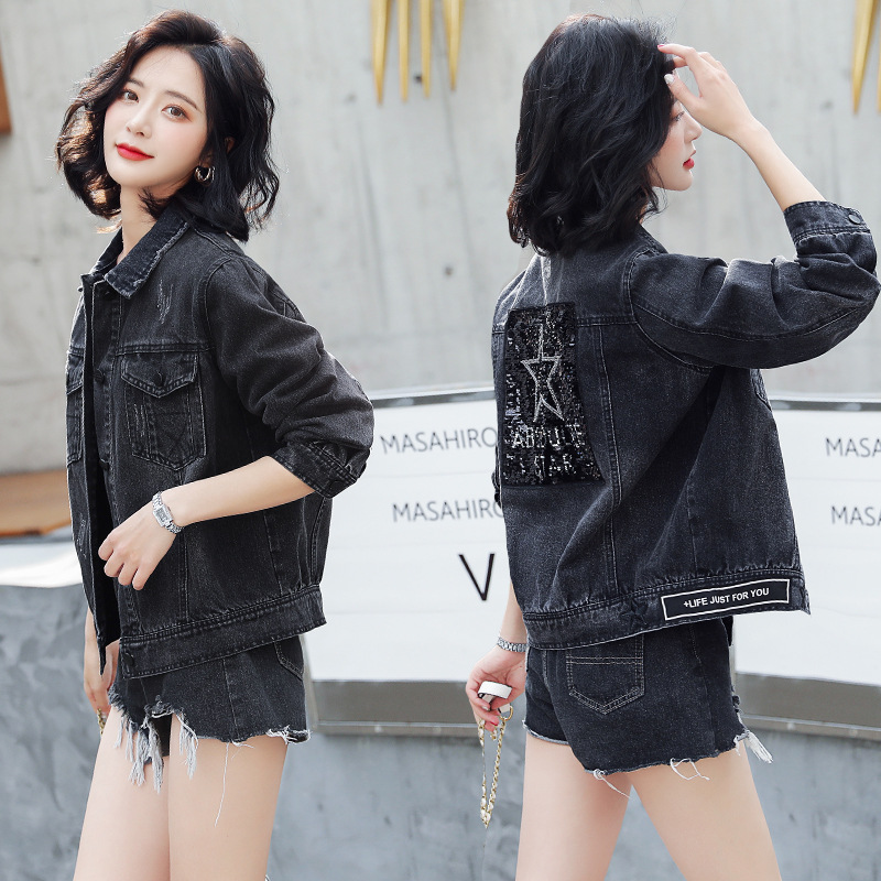2020 spring and Autumn New Korean Sequin black denim jacket versatile original fashion trend Denim Jacket Women