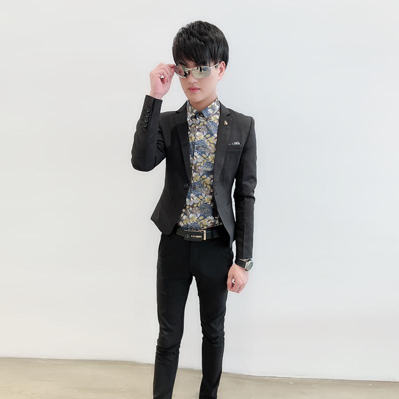 社会小伙西服男 精神 紧身单西韩版短款小码外套发型师修身小西装