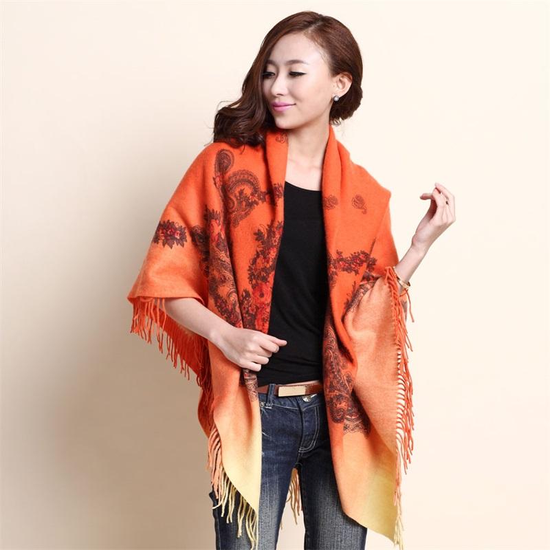 Retro shawl with cashmere scarf in autumn