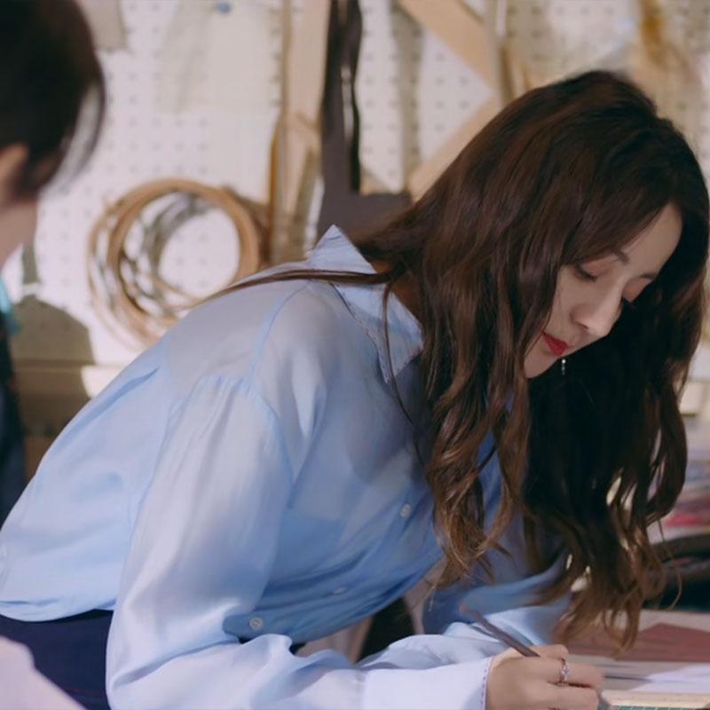 幸福触手可及迪丽热巴周放同款衣服女韩版洋气蓝色真丝衬衫上衣夏图片