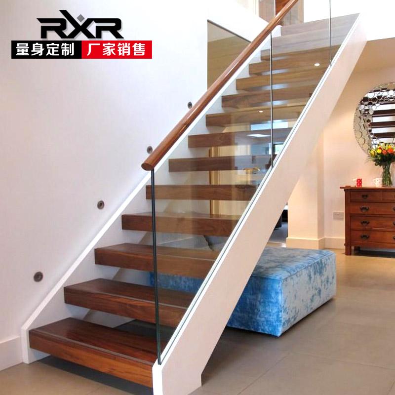 RXR室内整体玻璃楼梯复式跃层阁楼别墅双梁钢木楼梯家用loft木板