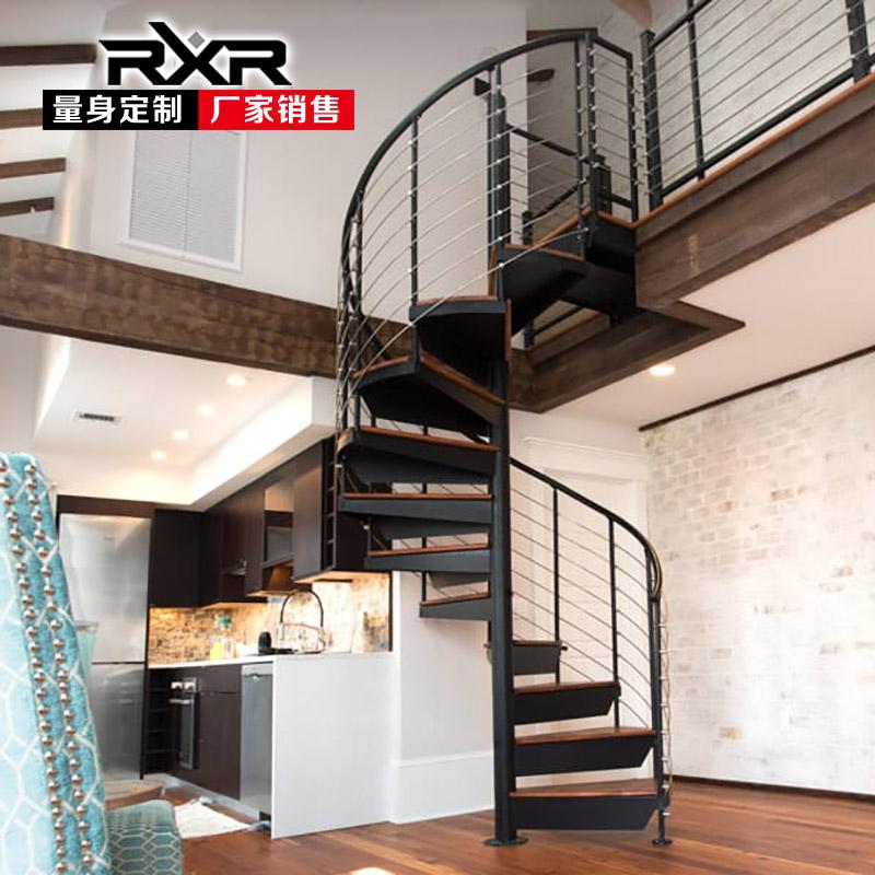 rxr整体旋转楼梯室内中柱旋转阁楼复式楼整体钢木不锈钢实木踏步