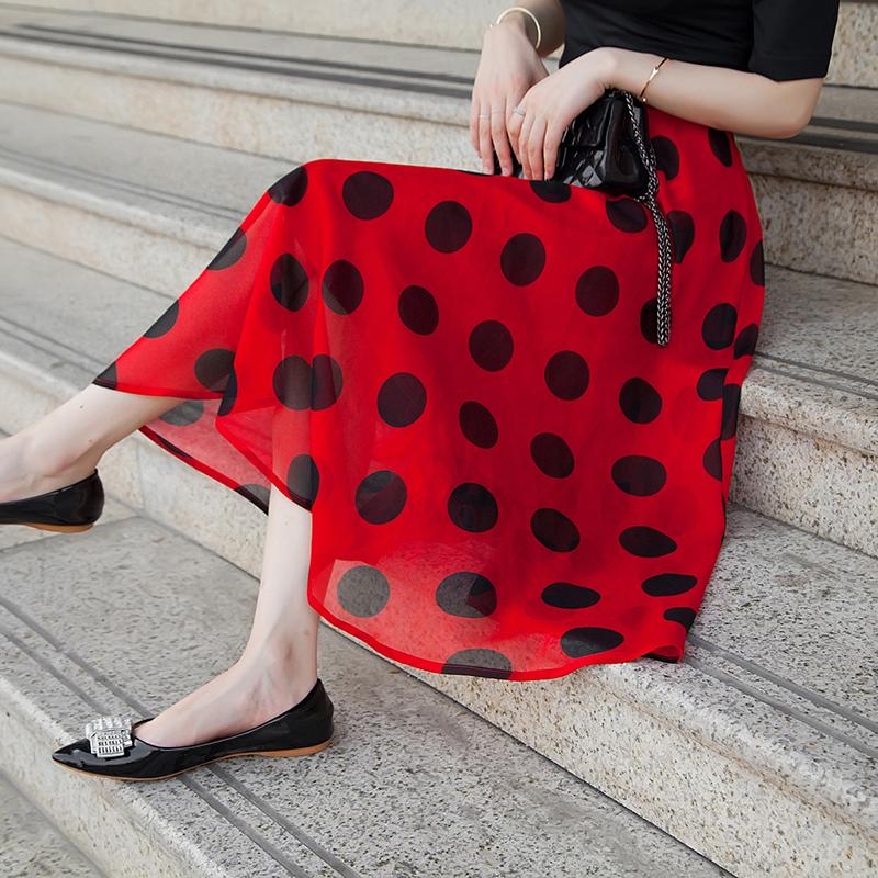 Chiffon Skirt womens 2021 summer new Hong Kong style big wave point mid long Korean high waist skirt