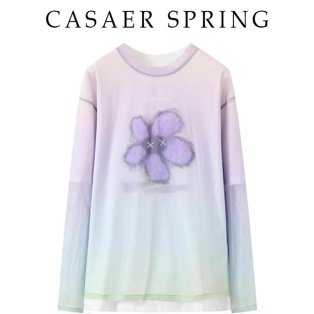 时尚宽松显瘦2021春夏款甜美蕾丝绣花百搭拼接两件套T恤女媄地素
