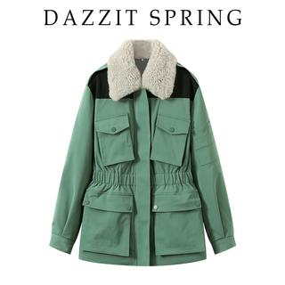 云地素2021年春新款翻领保暖棉服外套夹棉加厚收腰绿色时尚女装