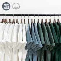 纯色白T打底衫男女重磅265g夏季厚实莫兰迪纯棉不透短袖圆领T恤