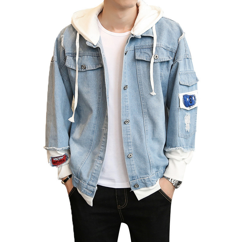 Jeans jacket mens spring and autumn Korean fashion slim handsome leisure sports jeans jacket young men