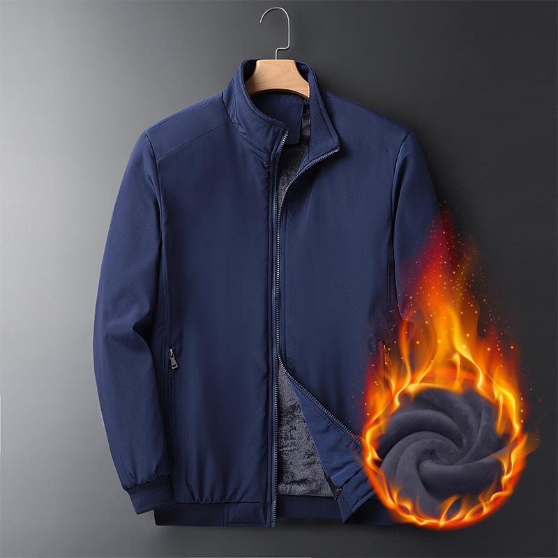 2020秋冬季新款青年男士夹克长袖圆领加绒厚款保暖男式时尚衣服