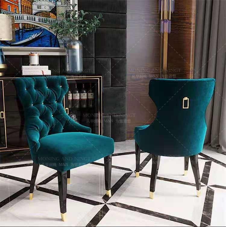 American light luxury dining table chair crystal buckle household chair net red Nordic Cafe leisure simple Hong Kong style classical chair