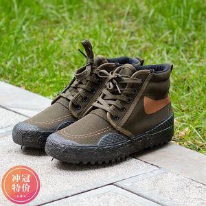 春季户外登山鞋高帮耐磨防水爬山胶鞋工人干活穿帆布女鞋子男鞋子