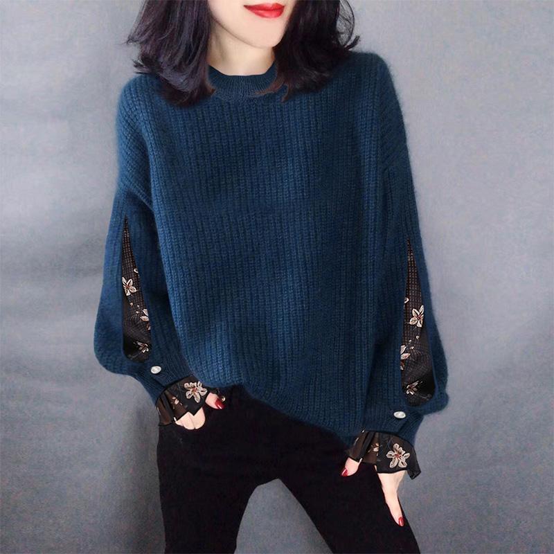 2019年新款春装欧洲站欧货女士蕾丝蓝色宽松外穿套头洋气百搭毛衣