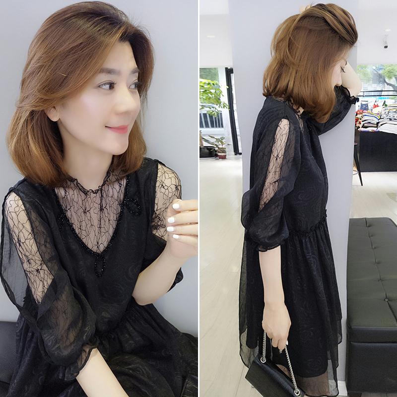 2020年新款夏装欧洲站欧货女黑色网纱小个子轻熟气质连衣裙子显瘦