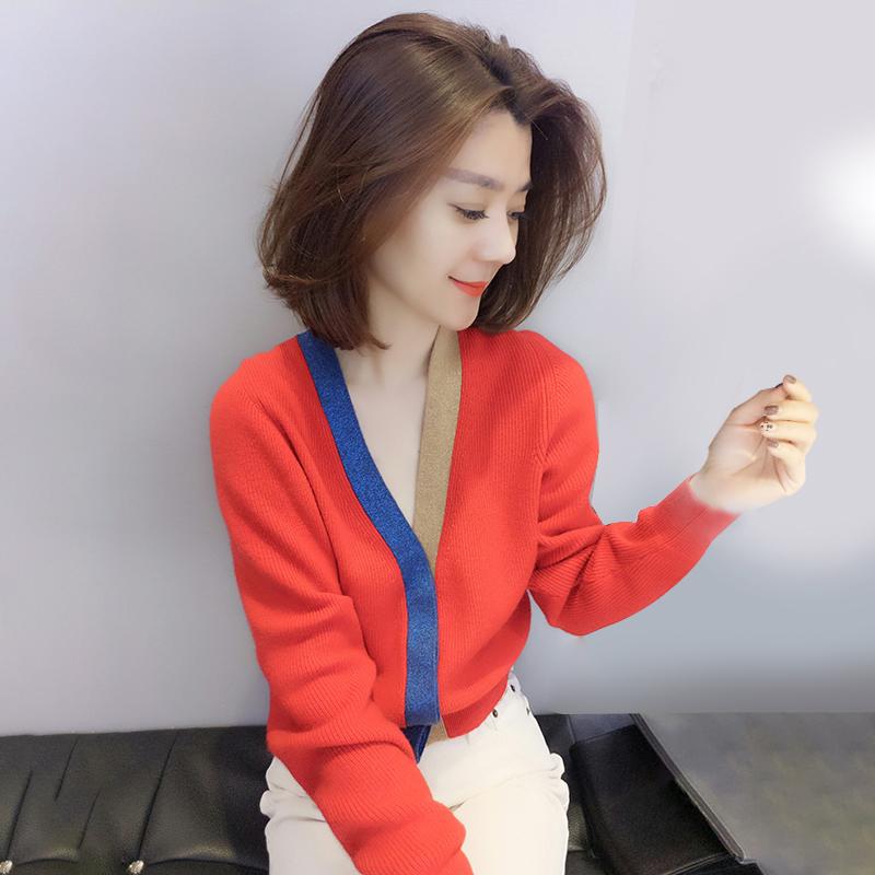 欧洲站春装女2020新款欧货潮时尚韩版宽松v领毛针织衫开衫小外套