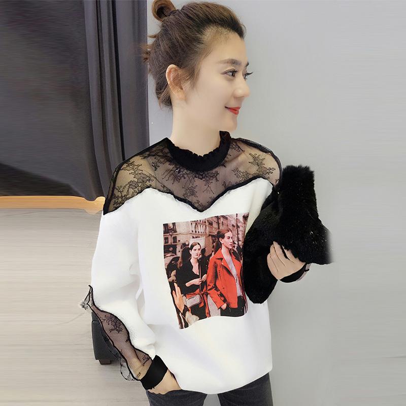 欧洲站春装女2020新款欧货白色时尚宽松蕾丝气质圆领卫衣韩版上衣