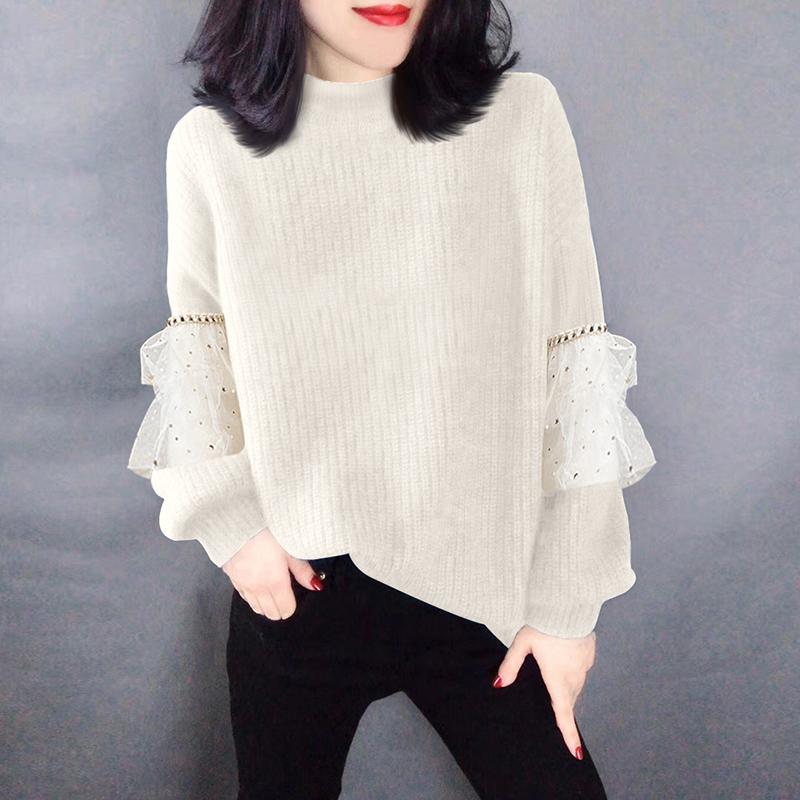 2020年新款春装潮欧洲站欧货女米色蕾丝宽松外穿百搭温柔毛针织衫