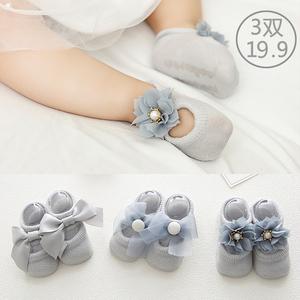 夏季纯棉防滑0-3-6-12个新生儿袜子