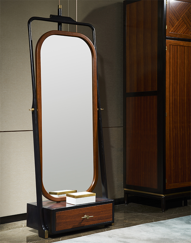 10月28日最新优惠新中式实木穿衣镜金丝梨木更衣镜全身镜落地镜子卧室可旋转试衣镜