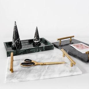 北欧简约风天然大理石托盘展示盘首饰收纳盘 卫浴室置物甜品盘子