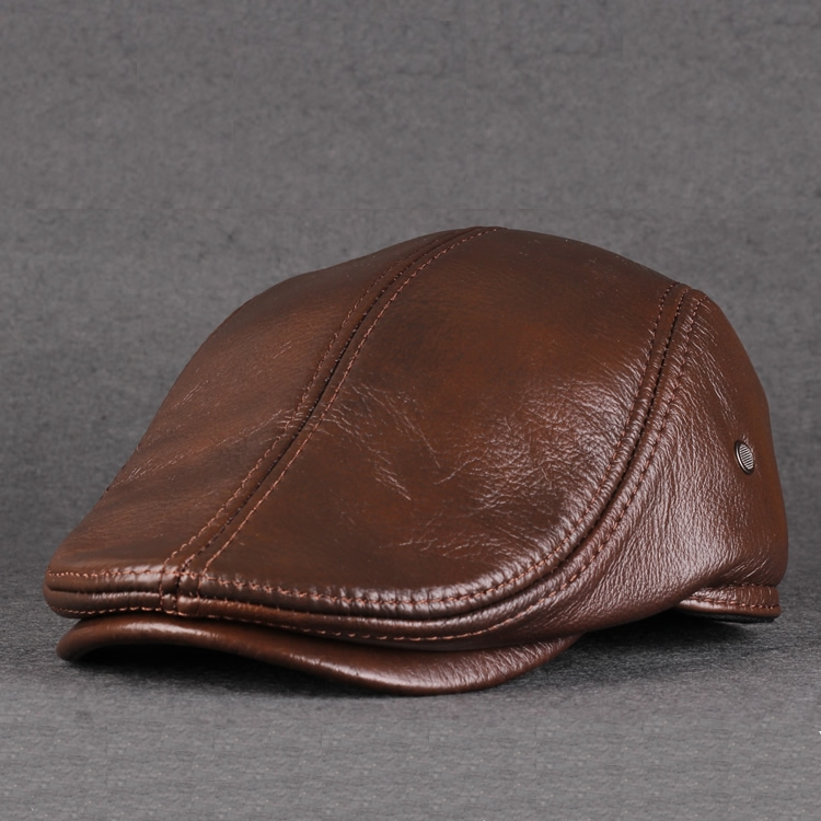 Leather hat for middle-aged and old men in autumn and winter