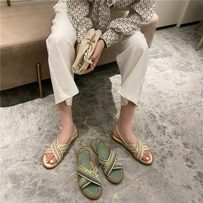 一件代发 2020新款夏季度假平底女夏套趾细带方头拖鞋平底凉拖