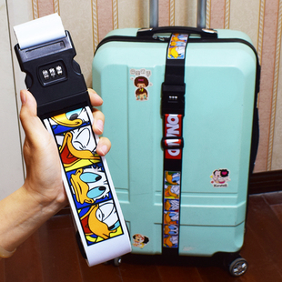 锁打包带一字十字带卡通加固绳迪士尼 出国门行李箱包捆绑绳子密码