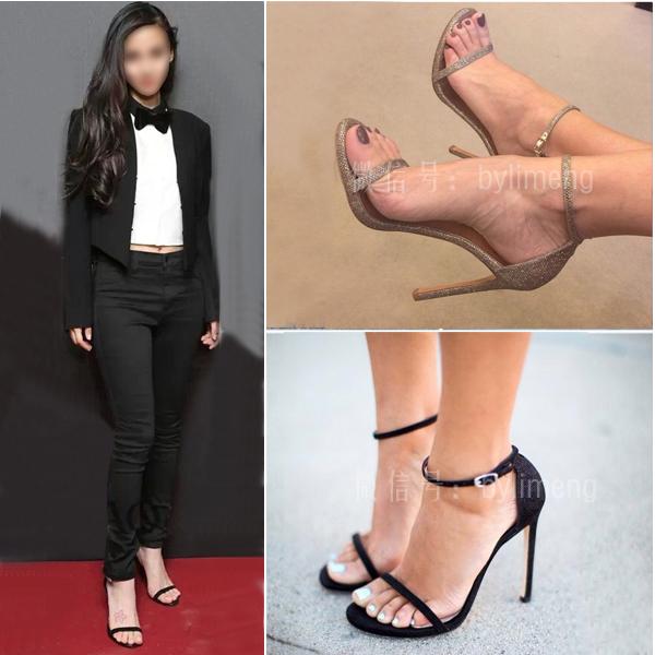 Новый 2016 в Европе и высокой пятки шпильках платформы пип toe пряжка черная кожа Сексуальные сандалии женщин