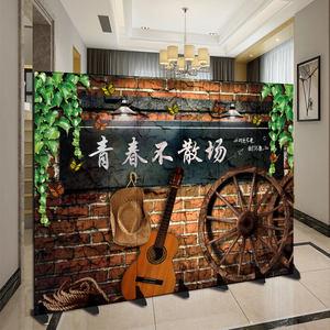 新中式屏风隔断墙客厅房间烧烤餐厅饭店移动折叠工业复古包间遮挡