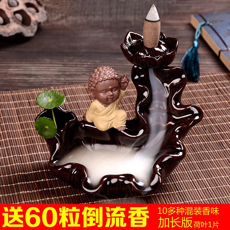 Назад курильница ароматерапия печь керамика сандаловое дерево ладан творческий буддийский монах песок наполнить украшение декоративный альпийский проточная вода часы награда дым