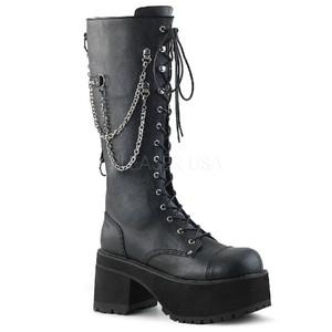 美国Pleaser/Demonia9.5cm黑色皮革银链装饰前系带拉链男靴中筒靴
