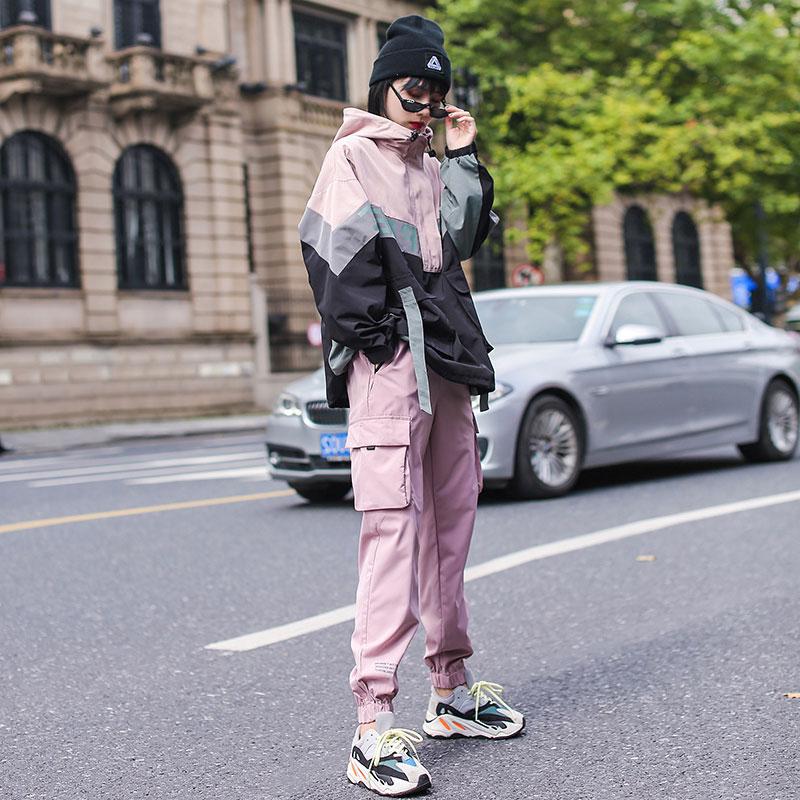 嘻哈休闲工装套装女春季2020新款酷女孩穿搭运动风ins裤子两件套