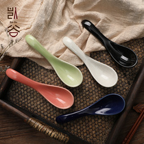 Keguzhi style and wind cherry blossom spoon spoon spoon rice spoon creative home ceramic portable Tableware