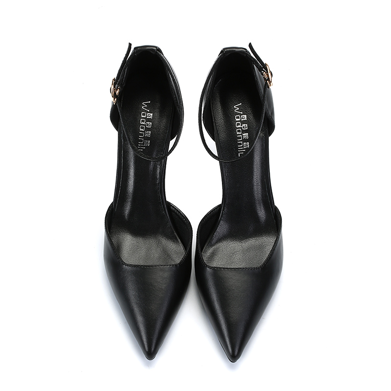 一字扣高跟鞋女职业细跟黑色尖头百搭5cm低跟面试工作鞋单鞋小码图片