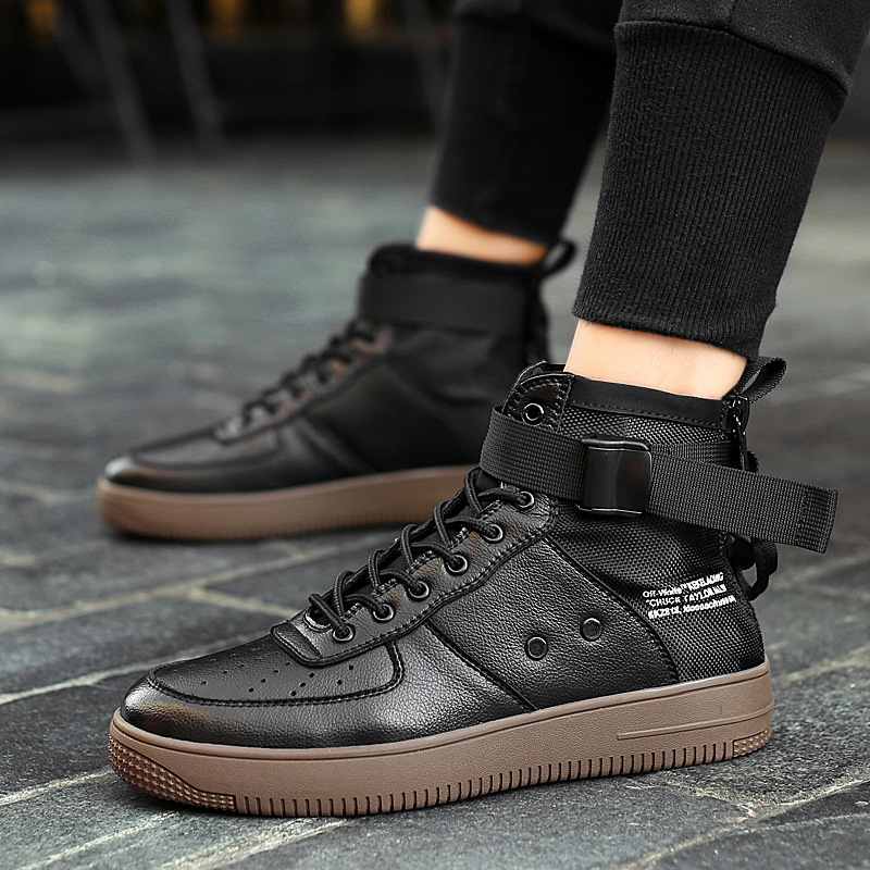 Extra large air force one black white 38-47 leather high top board shoes for mens breathable casual shoes Korean version