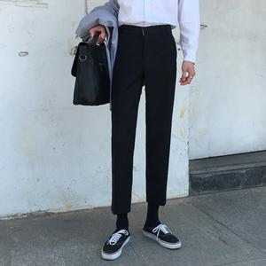 领5元券购买休闲裤小西裤男直筒修身坠感小脚青年百搭韩版裤子九分裤垂感潮流