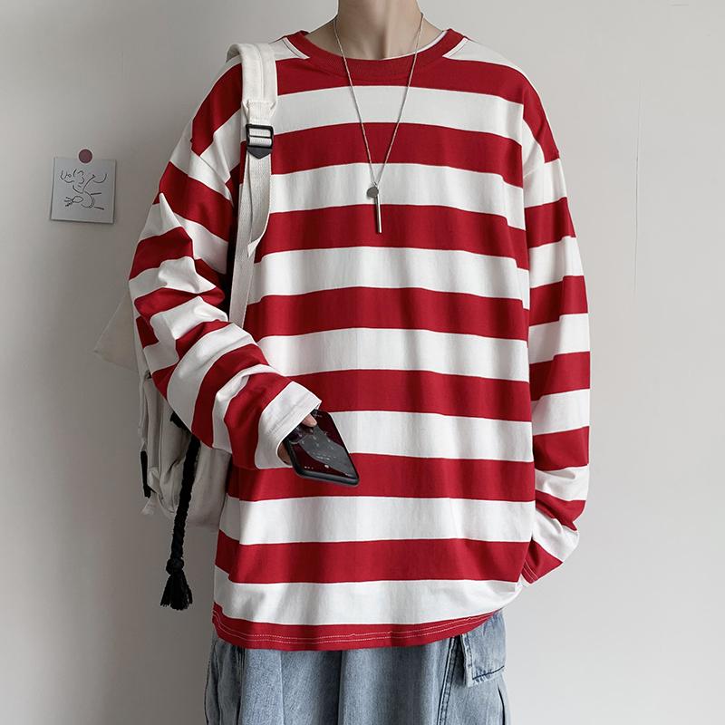 2021春夏潮流撞色条纹卫衣男ins港风休闲宽松圆领长袖T恤T202-P35