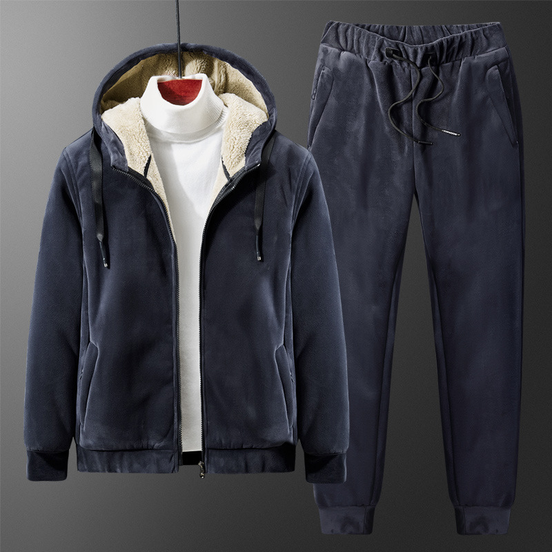 Mens cashmere cardigan large mens sports suit plus cashmere hooded thickened sweater silver fox cashmere suit