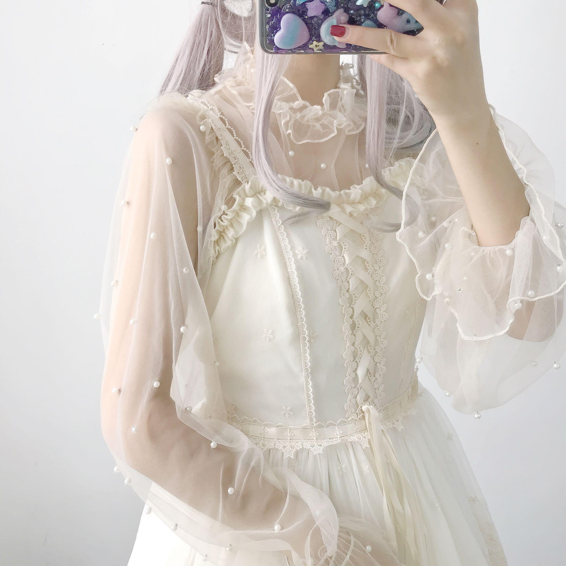 2019新款珍珠喇叭长袖很仙女Lolita内搭网纱防晒罩衫女打底衫上衣(用3元券)