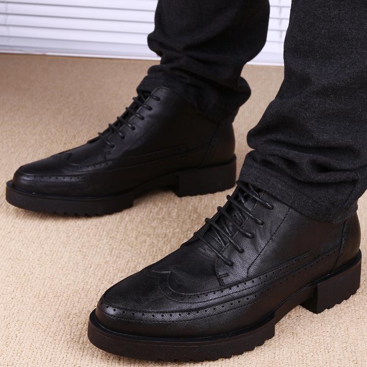 复古休闲皮鞋男韩版青年系带厚底英伦高帮真皮男士内增高布洛克鞋